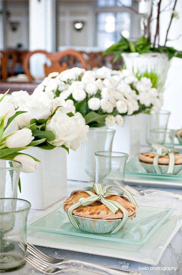 mint and white tablescape shared on style me pretty - Baby Shower Tablescapes Ideas