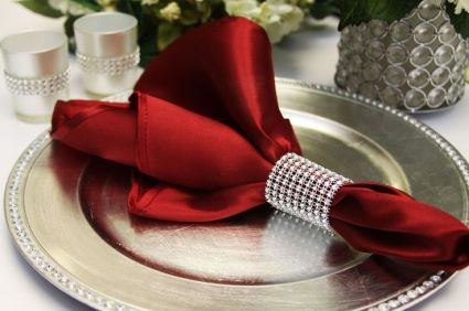 Satin Napkin in Burgundy – available on CVLinens