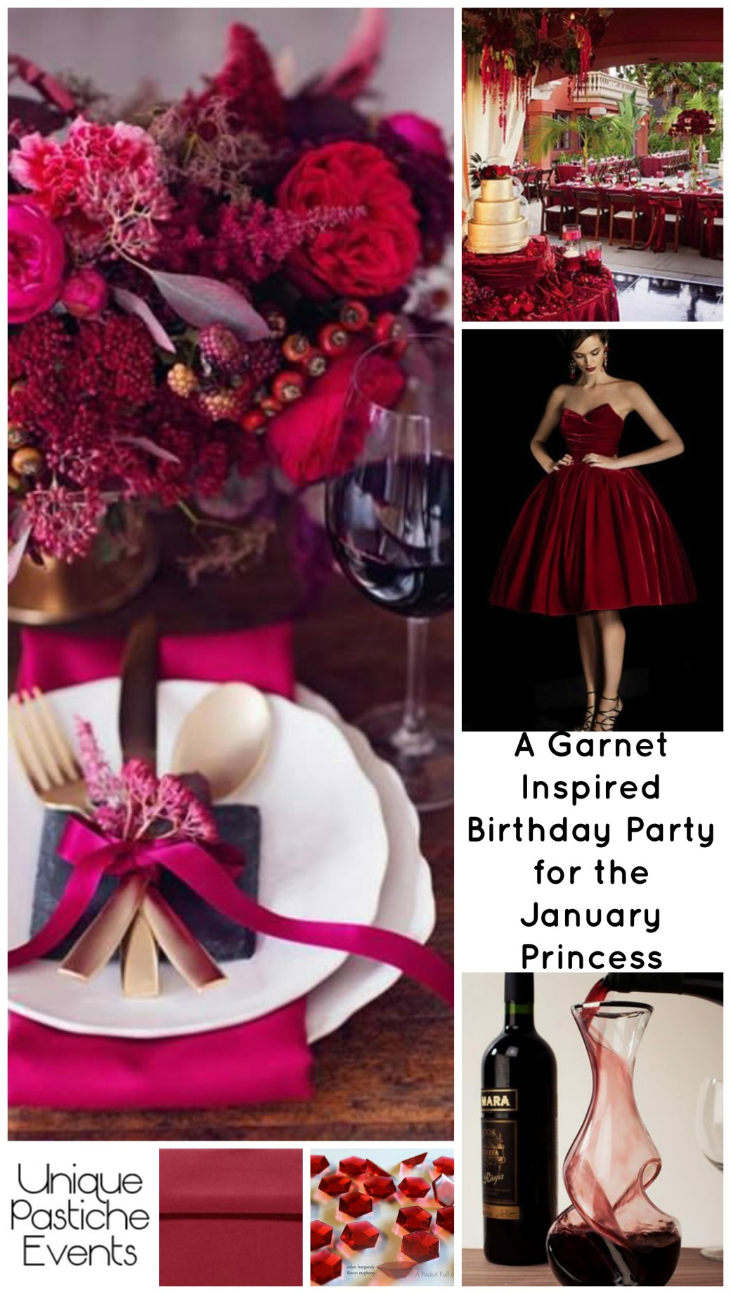 A Garnet Inspired Birthday Party for the January Princess by Unique Pastiche Events