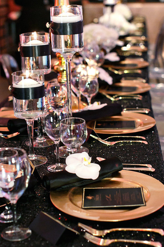Black ribbon around candleholders weddings centerpieces pinterest - Black and gold wedding reception decorations ...