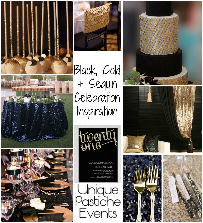 Black, Gold + Sequin Celebration Inspiration
