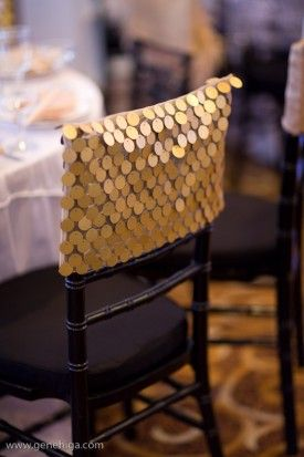 Gold Sequin Chair Cover Cap – shared on Wildflower Linen