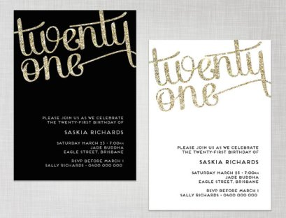 Printable Glitter Invitation – made by cartamodello on Etsy