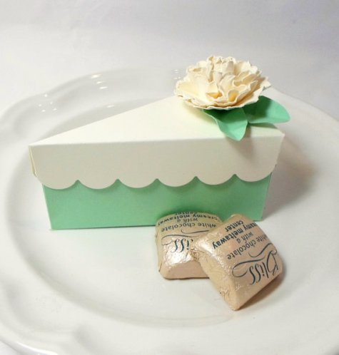 Mint Paper Cake Slice Party Favor Box – made by AcarrdianCards on Etsy