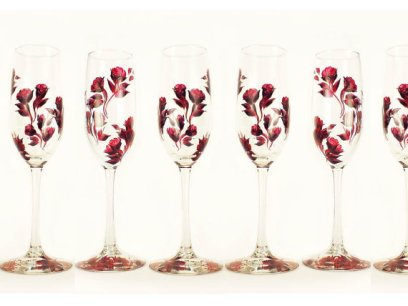 Hand Painted with Dark Red Rose Champagne Glasses – made by HandPaintedPetals on Etsy