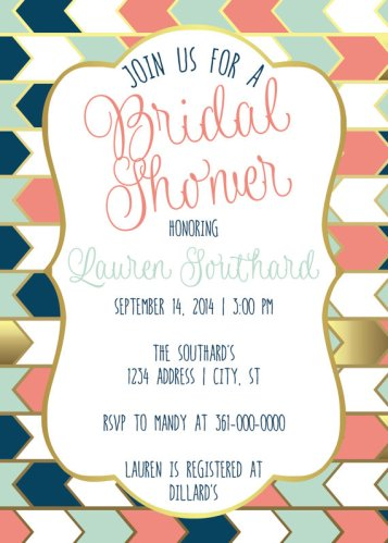 Naval, Coral, Mint and Gold Bridal Shower Printable Invitation – made by SouthernArrowDesigns on Etsy
