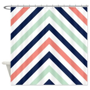 Chevron Curtain in Navy, Mint and Coral (to be used as a photo backdrop!) – made by GatheredNestDesigns on Etsy