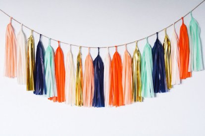 Mint, Peach and Gold Tassel Garland Décor – made by ohtobehappy on Etsy