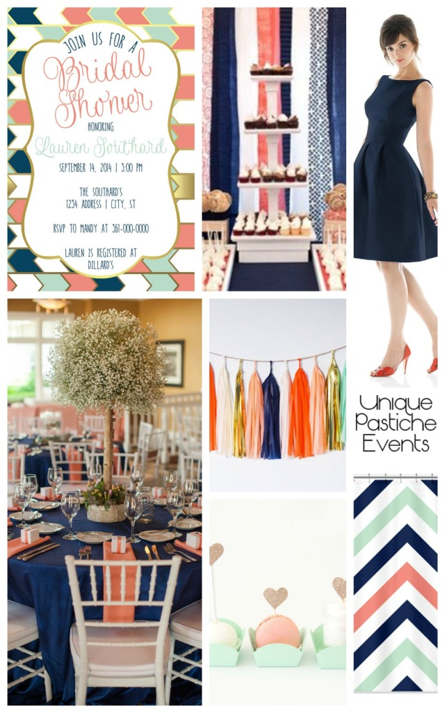 Navy, Mint, Peach + Gold Bridal Shower