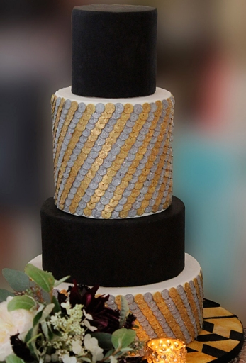 Black, Silver and Gold Sequin Cake – spotted on Brides.com