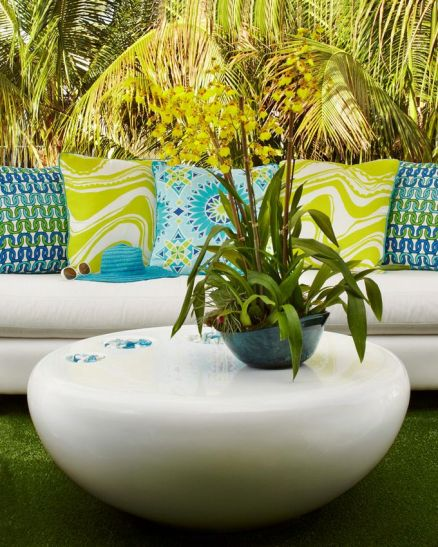 Colorful Turquoise and Lime Lounge – shared on House of Turquoise