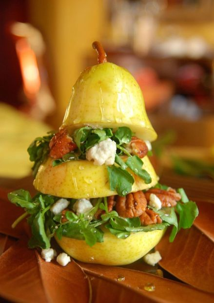 Vertical Pear Salad – recipe shared by The Novice Chef
