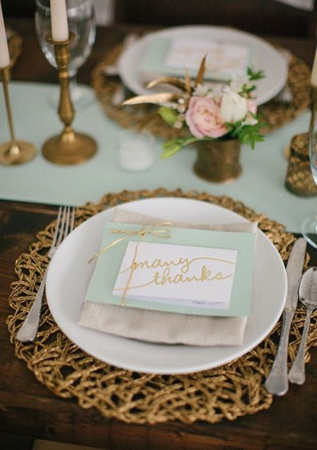 Mint and Gold Table Setting – shared on 100 Layer Cake