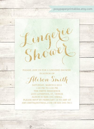 Watercolor Mint Green and Gold Lingerie Shower Invitation Printable – made by posypaperprintables on Etsy