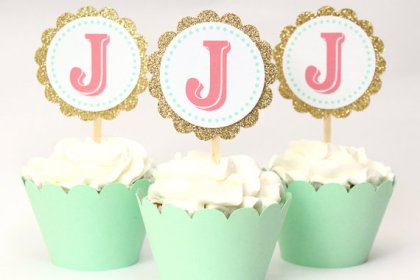 Custom Gold Glitter Cupcake Toppers in Mint and Coral Monogramed – made by WhenItRainsShop on Etsy