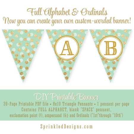 Printable DIY Pennant Banner in Mint Green, Gold and White Polka Dots – made by Sprinkled Design on Ets
