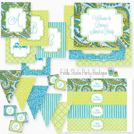Editable Instant Download Turquoise and Lime Paisley Party Kit – made by FiddleSticks Boutique on Etsy