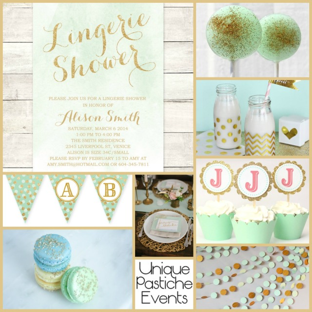 Lingerie Shower in Mint and Gold