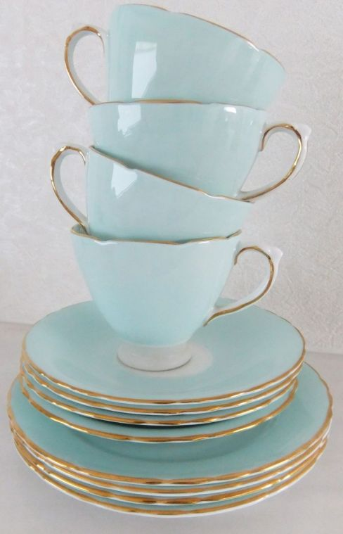 Light Blue and Gold Tea Cups – shared on Zsa Zsa Bellagio