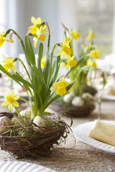 DIY Tabletop with Daffodils and Pansies – shared by Karin Lidbeck-Brent