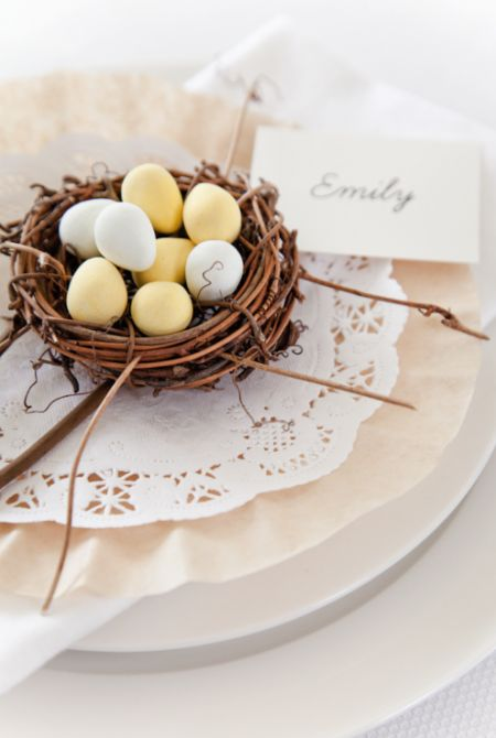Easter Nest Table Settings – shared by Boxwood Clippings