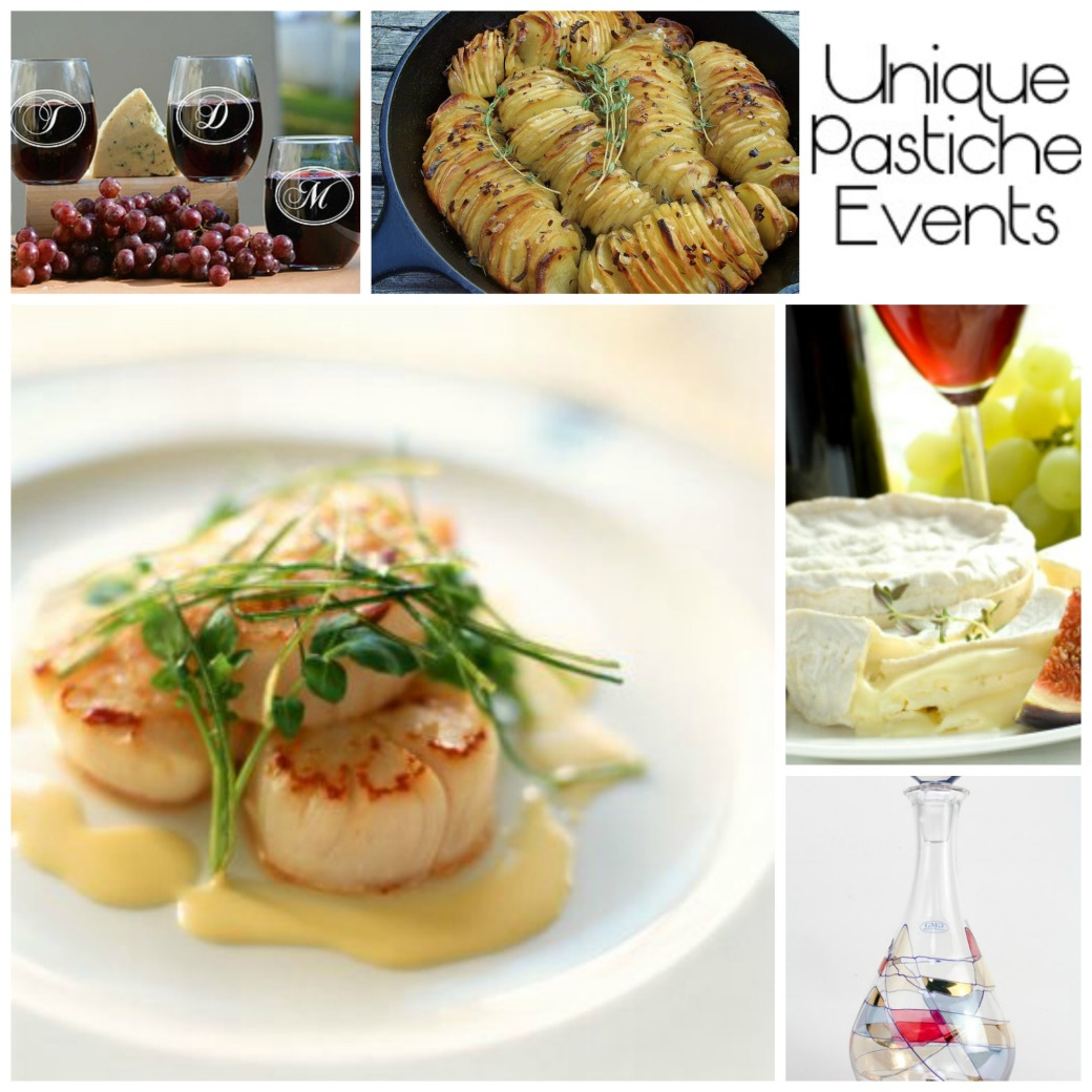 Dinner Party Menu Baked Scallops and Roasted Potatoes by Unique Pastiche Events