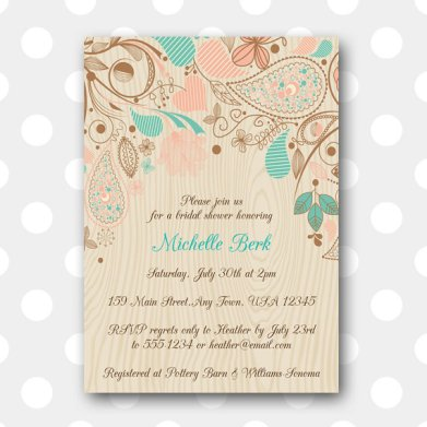 Printable Bridal Shower Invitation in Wood Grain Floral – made by inglishdigidesign on Etsy