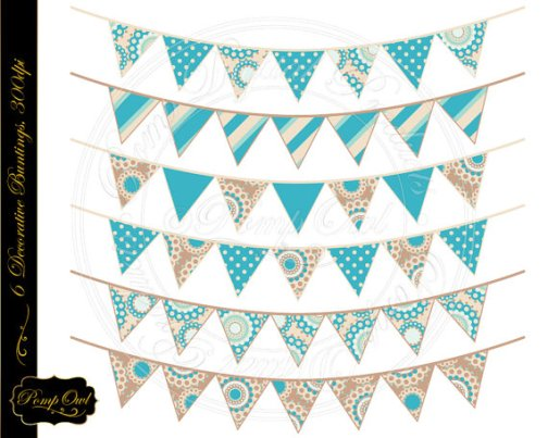 Digital Buntings Clipart in Turquoise and Beige – made by PompOwl on Etsy