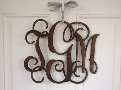 Large Wood Monogram Décor Hanging – made by BloominBridal on Etsy