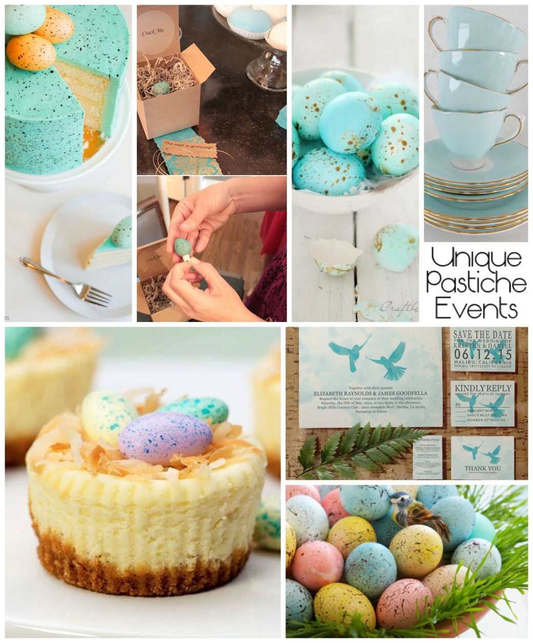 Speckled Blue Egg – Spring Engagement Party Ideas Here's the link to the full post: https://uniquepasticheevents.com/2015/03/25/speckled-blue-egg-spring-engagement-party-ideas/