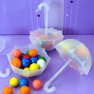 Plastic Fill-able Umbrella Favor Holders –sold on WrapWithUs.com
