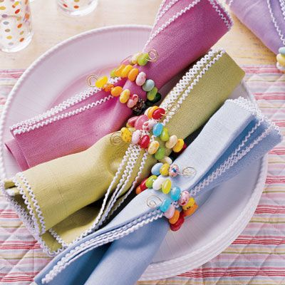 Jelly Bean Napkin Rings – shared on Delish