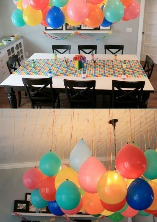 Colorful Balloon Tablescape – shared by The Pleated Poppy