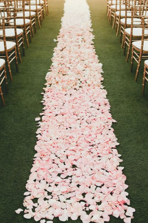 White and Pink Rose Petal Wedding Aisle Décor – shared on Style Me Pretty California