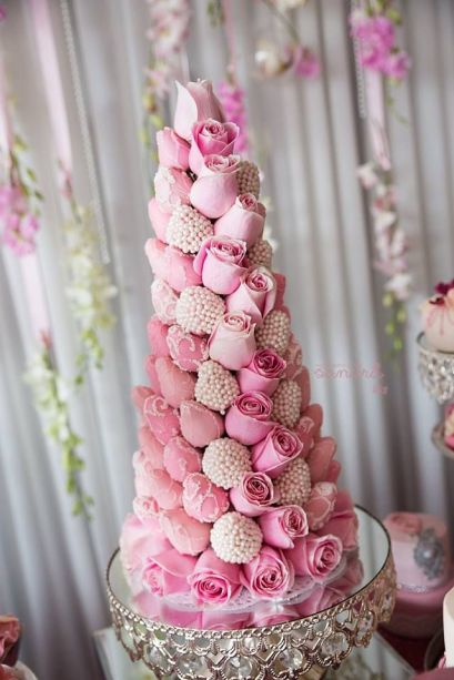 Pink Rose Croquembouche Tower – shared on The Little Big Company