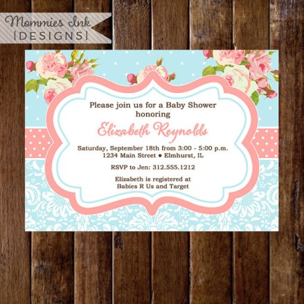 Pink Roses and Light Blue Baby Shower Invite Printable – made by MommiesInk on Etsy