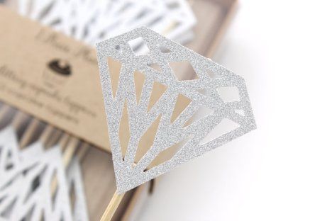 Large Diamond Glittery Cupcake Toppers – made by 1PixiePlace on Etsy