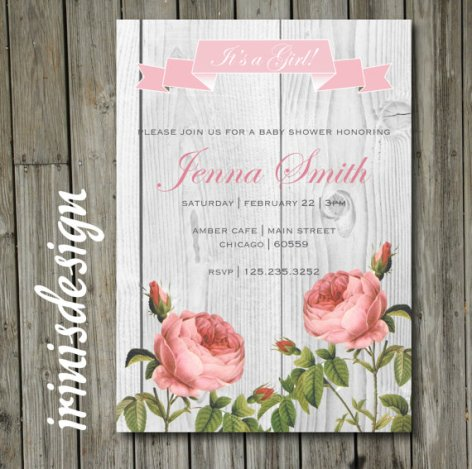 Light Wood Tea Rose Invitation – made by irinisdesign on Etsy