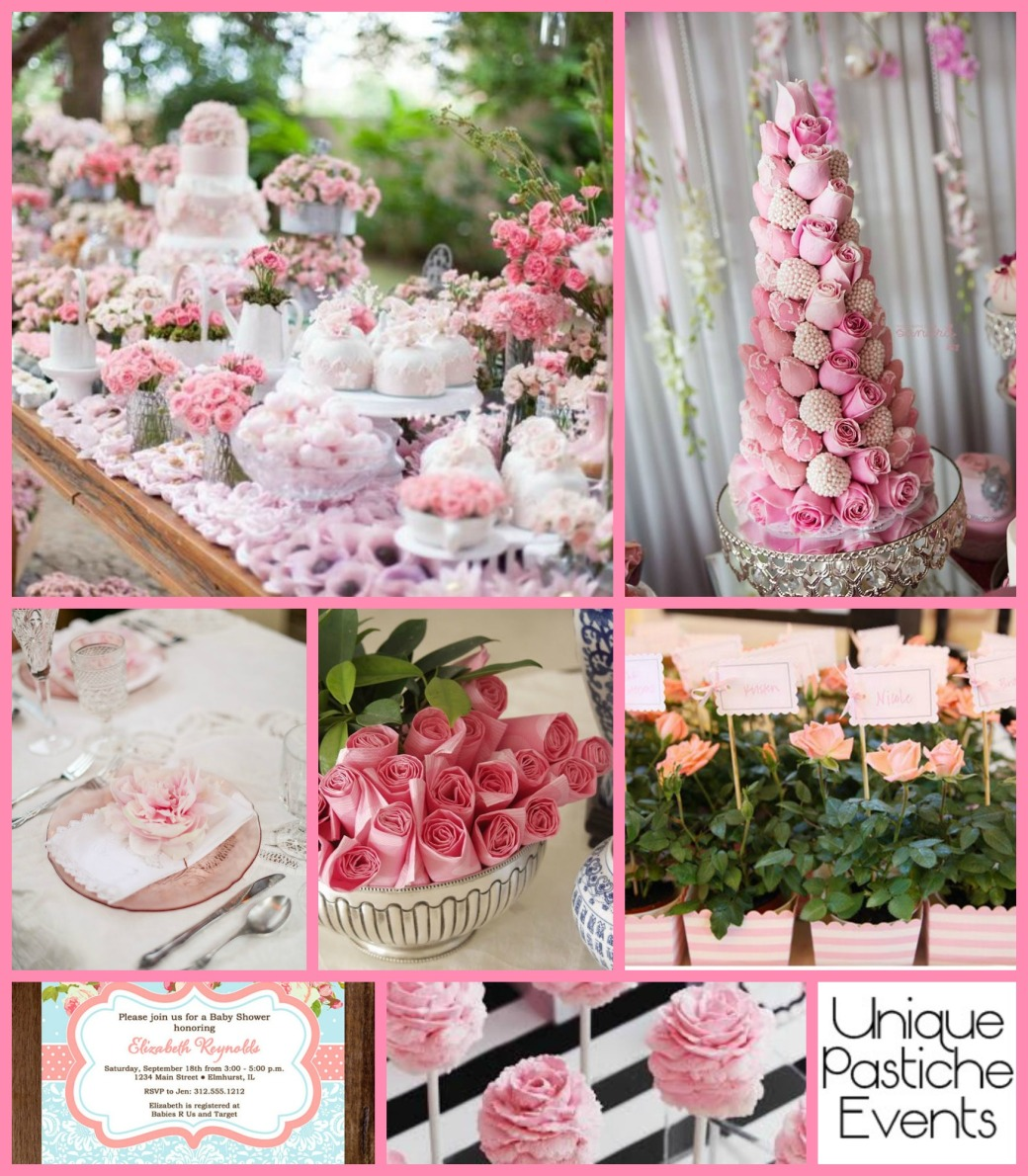 Pale Pink Rose Baby Shower Idea Board See the full post for all the details: https://uniquepasticheevents.com/2015/04/29/pale-pink-rose-baby-shower/