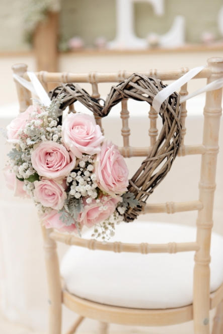 Light Pink Rose Heart Chair Décor – shared on Bridal Musings