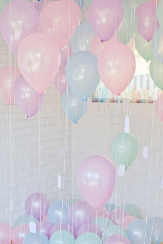 Pastel Balloon Room Styling – shared on Style Me Pretty