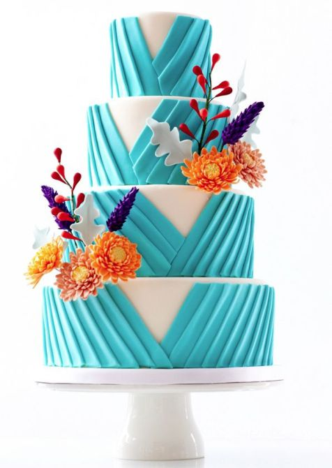 Turquoise and Floral Cake – share by Le Dolci Cupcakes and Cakes on ModWedding