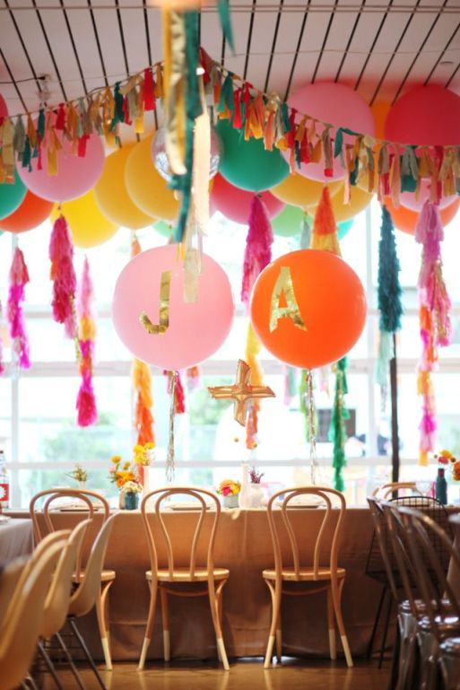 Vibrant Balloon and Tassel Décor – shared on Bash, Please
