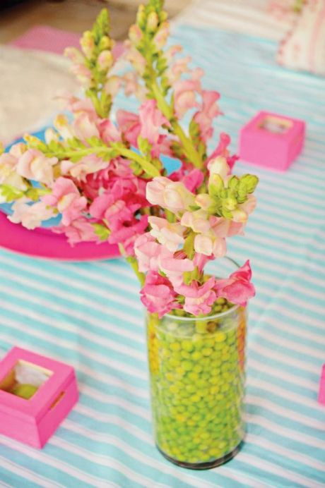Pink Gladiolus Flowers and Lime Centerpiece – shared on Hostess With the Mostess