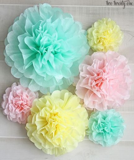 Pastel Tissue Paper Pom Poms – tutorial shared on Two Twenty One