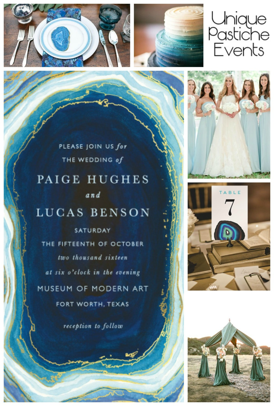 Blue + Gold Agate Wedding Ideas Enjoy the full post here: https://uniquepasticheevents.com/2015/05/13/blue-gold-agate-wedding-ideas/
