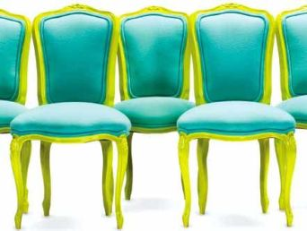 Turquoise and Lime Chairs – shared on Apartment Therapy