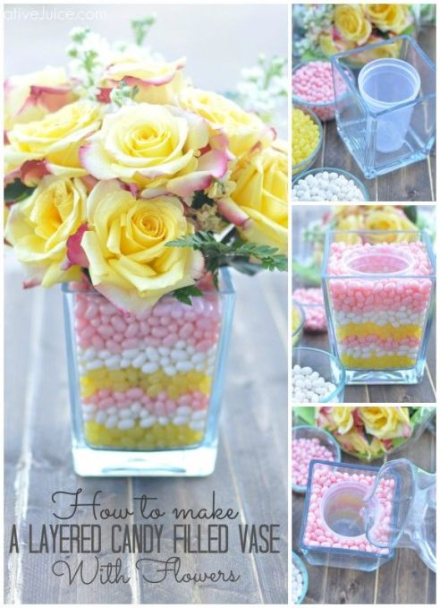 How To: Layered Candy Filled Vase with Flowers – also shared on Get Creative Juices