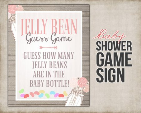 Baby Shower Jelly Bean Guessing Game Sign – made by StudioTwentyNine on Etsy