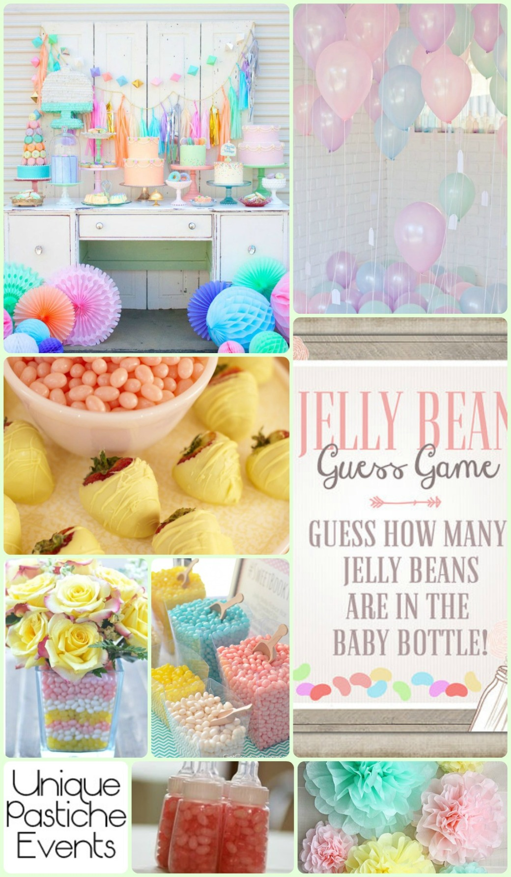 Sugary Sweet Pastels + Jelly Beans – Baby Shower Ideas See the full post for all the details: https://uniquepasticheevents.com/2015/05/06/sugary-sweet-pastels-jelly-beans-baby-shower-ideas/